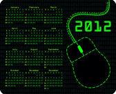 Binary code calendar on mousepad — Stock Photo
