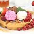 Stock Photo: Fresh Waffle with ice cream