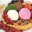 Fresh Waffle with ice cream — Stock Photo