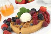 Waffle with vanilla ice cream — Stock Photo