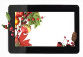 Decorative Christmas digital tablet frame — Stock Photo