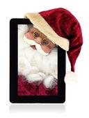 Noel baba noel tablet — Stok fotoğraf