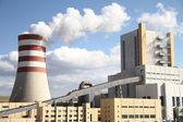 Power plant with smoking chimney — Stock Photo