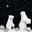 White bear on snow at Christmas night — Stock Photo