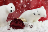 White bear on snow at Christmas — Stockfoto