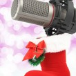 Christmas microphone — Stock Photo