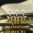 Trumpet with music sheet - Stock Photo