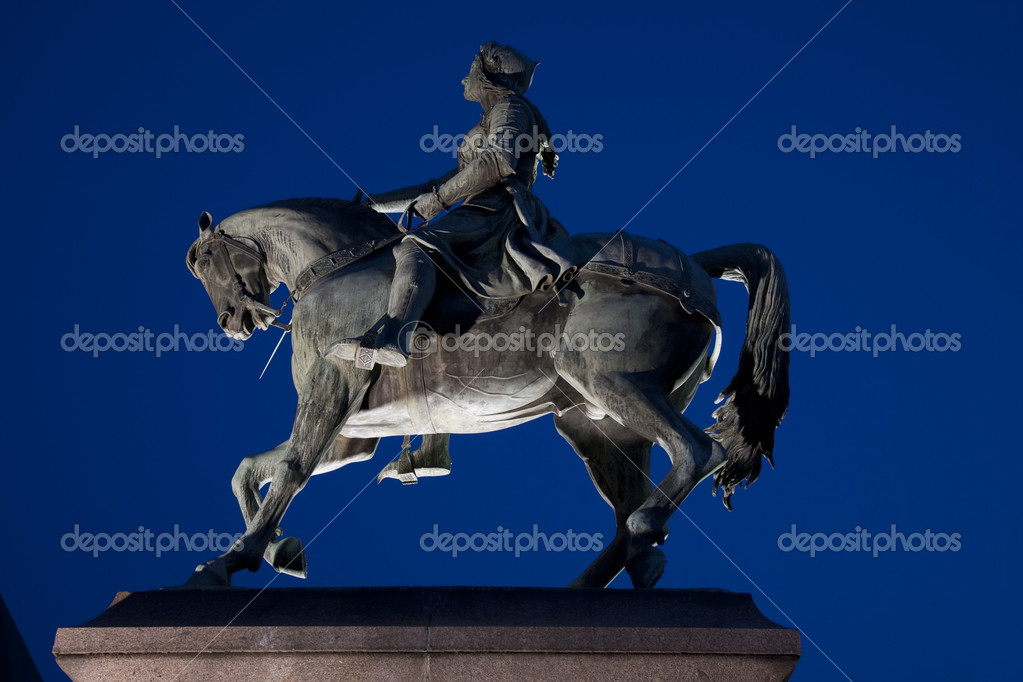 Joan of Arc Statue illuminated at night, Orleans, France  Stock Photo #6924731