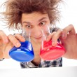 Portrait of funny young man with awesome hairdo isolated on whit — Foto Stock