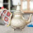 Black iron asian teapot - Stock Photo