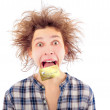 Portrait of funny young man with awesome hairdo isolated on whit — Stock Photo