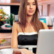 Stock Photo: Young business woman using a laptop - indoors