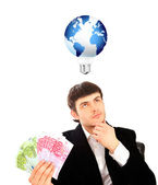 Portrait of young business man isolated on white background. Hol — Stock Photo
