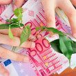 Money, arms and plant, on table - Stok fotoraf