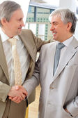 Portrait of two businessmen handshaking. Office background. — Stock Photo
