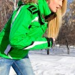 Closeup portrait of young pretty woman outdoor in winter park in — Stock Photo