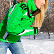 Closeup portrait of young pretty woman outdoor in winter park in - Stock Photo