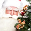 Christmas theme: Santa Claus holding christmas tree and his bag - Lizenzfreies Foto