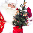 Christmas theme: Santa Claus holding christmas tree and his bag — Stock Photo