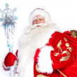 Stock Photo: Traditional Christmas SantClause with staff isolated on whit