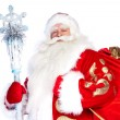 Traditional Christmas SantClause with staff isolated on whit — Stock Photo #7070839