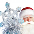 A traditional Christmas Santa Clause with staff isolated on whit — Stock Photo #7070988