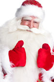 Traditional Santa Claus thumbs up. Isolated on white. — Stock Photo