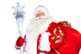 A traditional Christmas Santa Clause with staff isolated on whit — Stock Photo