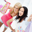 Group of beautiful shopping women with bags and smiling — Stock Photo #7289401
