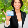 Business woman making payments online using laptop and credit ca — Stock Photo #7289506
