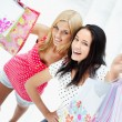 Group of beautiful shopping women with bags and smiling — Stock Photo #7312729