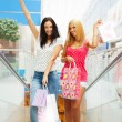 Closeup of two attractive happy girls out shopping. They are mov — Stock Photo #7558155