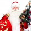 Christmas theme: Santa Claus holding christmas tree and his bag full of gif — Stock Photo