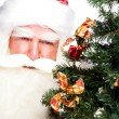 Christmas theme: Santa Claus holding christmas tree and his bag — Stock Photo #7558209