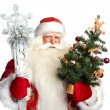 Christmas theme: Santa Claus holding christmas tree? staff and h — Stock Photo #7558350