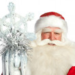 A traditional Christmas Santa Clause with staff isolated on whit - Foto de Stock  