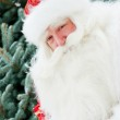 Portrait of natural Santa Claus standing at Christmas Tree outdo — Stock Photo #7558421