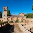 Alhambra de Granada. Convento de San Francisco behind a pond — Stock Photo