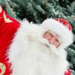Portrait of natural Santa Claus standing at Christmas Tree outdo — Stock Photo #7558981