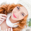 Portrait of beautiful young red hair woman outdoors in winter lo — Stock Photo #7559013