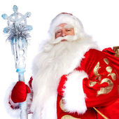A traditional Christmas Santa Clause with staff isolated on whit — Foto de Stock