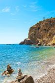 Bright view of calm wild beach of spanish coast line. Clean Medi — Stock Photo