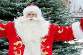 Portrait of Santa Claus standing with open hands outdoors at chr — Stok fotoğraf