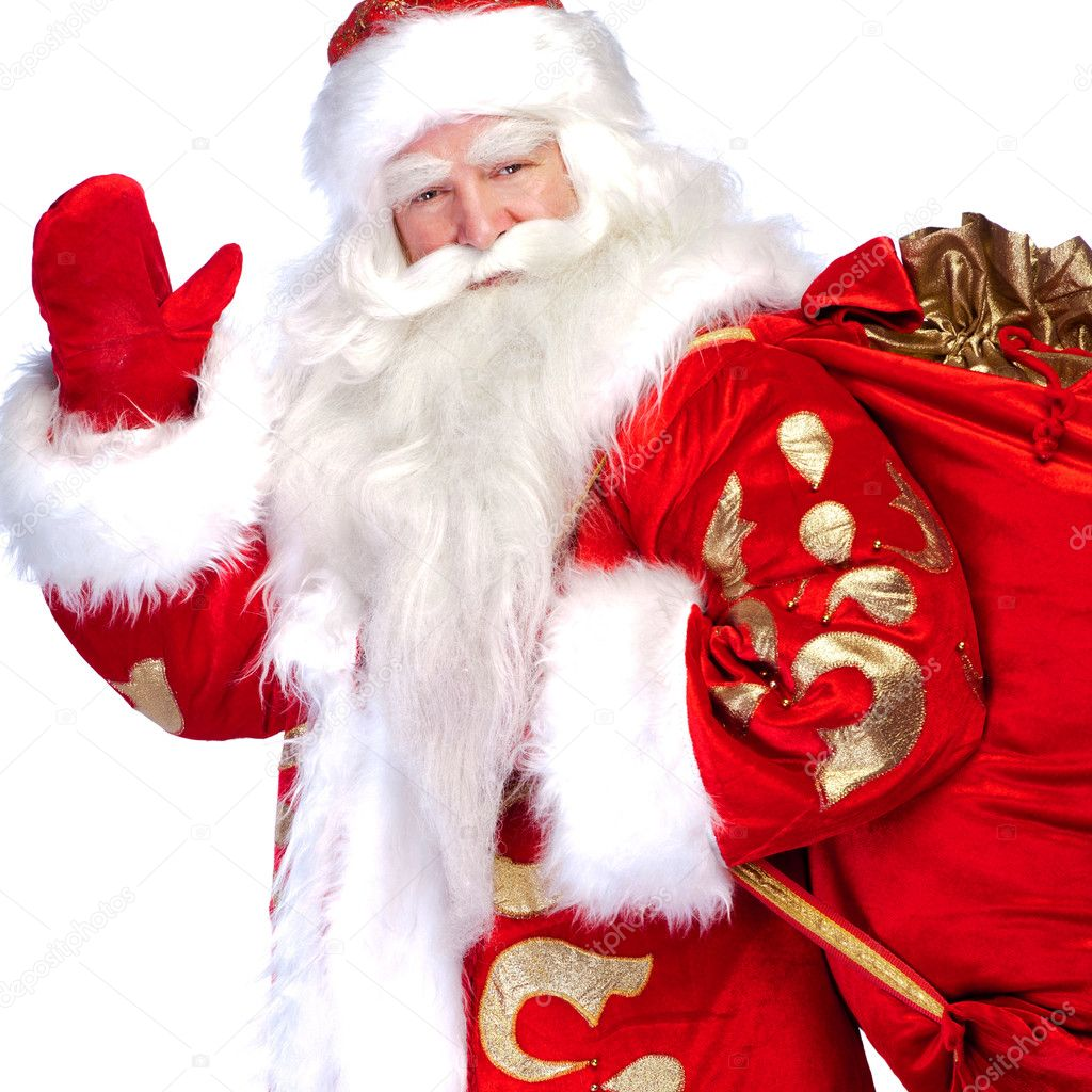 Santa claus standing up on white background with his bag