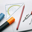 Writing tools and compass — Stock Photo