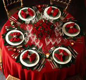 A decorated christmas dining table — Stock Photo
