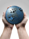 Male hand holding the planet earth — Stock Photo