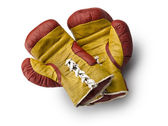 Red and yellow boxe gloves — Stock Photo