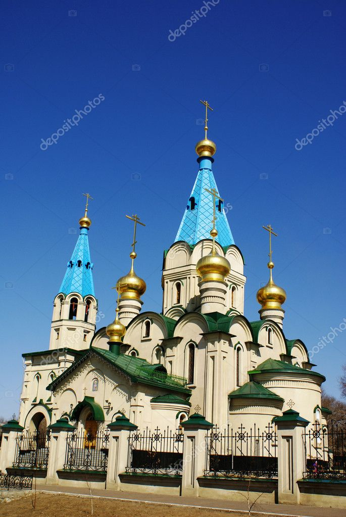 Orthodox church of the 20th century. Russia, Siberia. Blagoveshchensk  Stock Photo #6829201