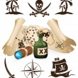Treasure map, pirate collection — Stock Vector